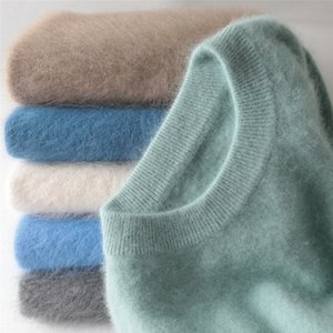 jinjiaxian cuello redondo con capucha gruesa hombres del invierno flojo de gran tamaño que hace punto suéter de cachemira