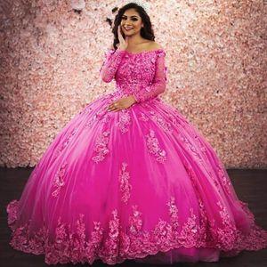 fuchsia Long Sleeves Quinceanera Dresses evening Gowns Lace Plus Size 15 year old Sixteen Sweet 16 Dress Prom Dress Vestidos De Graduación