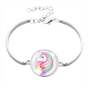 Unicorn Лошадь стекла кабошон 20мм браслет для девочек Дети Дети ювелирных аксессуаров мультфильм животных браслет Unicorn