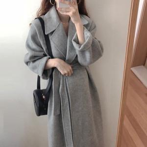[EWQ] Autumn Winter Long Sleeve Loose Casual Woolen Mantel 2020 Classical Belt Retro Chic Casual Long Coat Warm Simple 16Q495 Y1112