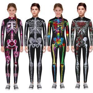 New Halloween Scary Cosplay Costumes for Kids Skeleton Bodysuit Devil Vampire Carnival Party Clothing Skull Dress Jumpsuit