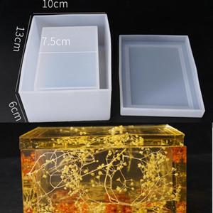 Nuevo molde de silicona transparente Secado Flor Resina Artesanía Decorativa DIY Almacenamiento Tisual Tissue Molde Moldes epoxi de la joyería Q1106