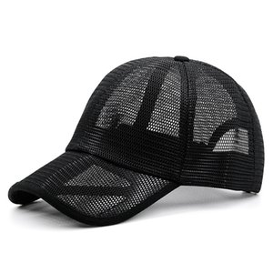 Oversize full mesh sun hat male summer cool riding sport cap lady peak hats men plus size baseball caps 55-60cm 60-66cm 201027