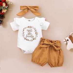 Ishowtienda Summer Baby Girl Vêtements Vêtements Nouveau-né Lettre Lettre Imprimer Body Body + Pantalon de Dot + Tenue de bande de tête 3-18 mois Vêtements Y200803