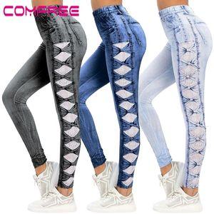Lace Printed Denim Jeans High Waist Bow Skinny Jeggings Women Slim Long Trousers Pencil Pants Casual Streetwear Booty Leggings