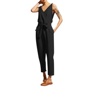 Estate Donne Casual Solido Senza Maniche Senza maniche Cintura con scollo a V Slim Plus Size Lino Tuta Long Tuta Body Donne Pagliaccetti Donne Tuta Y200904