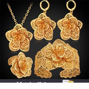 Women Cuff Bracelets 18K Gold Platinum Plated Hollow Flowers Earrings Rings Necklaces Vintage African Jewelry Sets