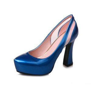 Blue Green Wine Red Women Pumps Platform Square Heel Shoes Fashion Round Toe Shallow Women High Heel Shoes Lazy