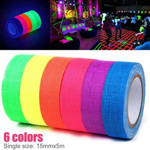 6pcs Set Fluorescent Tape UV Blacklight Reactive Glow In The Dark Tape Neon Gaffer Tape Safety Warning Forc