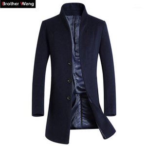 Brother Wang Marca 2020 Nuevos Hombres Slim Seption Long Woolen Trench Coat Fashion Casual Business Color Solid Color Waterbreaker Chaqueta Male1