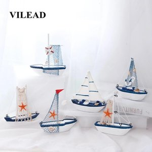 VILEAD 12.5cm Wood Sailboat Figurines Mediterranean Style Craft Creative Shooting Sailing Model Crafts Small Ornament Decoration