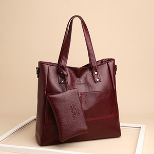 2020 The New Women Handbag Mother Bag New 2 Pcs set Female Bags Simple Large-capacity Single Shoulder Bag Women's Handbags