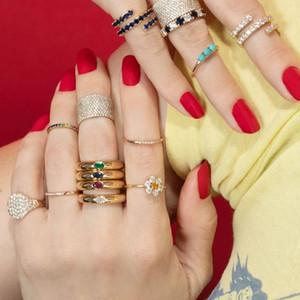Vendita all'ingrosso colore oro colorato baguette cz rosso verde blu bianco zirconia zirconia aperta banda regolata da donna a finger dome anello anello