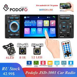Podofo 1din Car Radio JSD-3001 Autoradio 4.1 Car MP5 Player Touch Screen Stereo Bluetooth 1Din Auto Radio Camera Mirror LinK