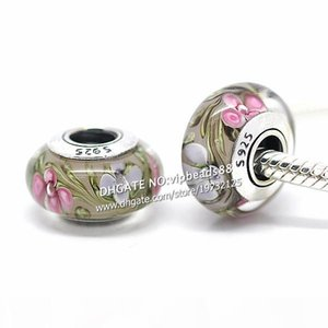 S925 Sterling Silver jewelry Small wildflowers Murano Glass Beads Fit European DIY pandora Charm Bracelets & Necklace 171B