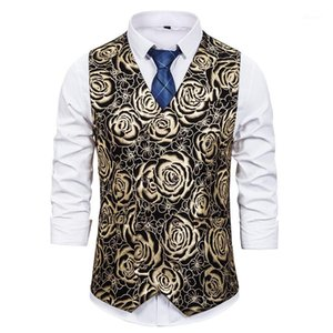 Luxury Gold Rose Floral Print Dress Vest Men 2020 Brand Double Breasted Vest Waistcoat Men Nightclub Wedding Groom Gilet Homme1