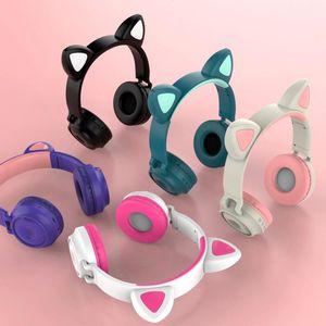 2021 NEW Game Headsets ZW-028 Bluetooth 5.0 Headphone LED light Cat Ear Headset Stereo Bass Wireless Earphone HiFi headphones