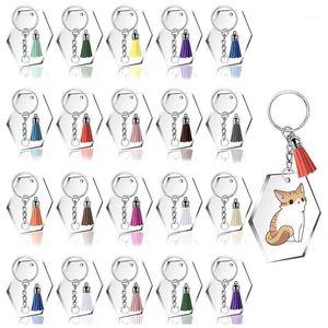 Acrylic Transparent Discs Clear Acrylic Hexagon Keychain Blanks with 30Pcs Key Chains, 30Pcs Colorful Tassel Pendants,1