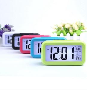 Smart Sensor Nightlight Digital Alarm Clock with Temperature Thermometer Calendar,Silent Desk Table Clock Bedside Wake Up Snooze W82