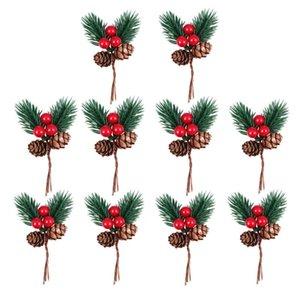 10pcs Pine Creative Picks Simulation de nouveauté Simulation Christmas Berry Pine Cône Décor