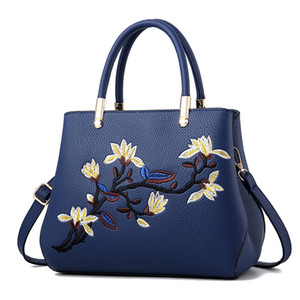 Fashion Women Handbags PU Leather Totes Bag Top-handle Embroidery Crossbody Bag Shoulder Bag Lady Simple Style Hand Bags DeppBlue