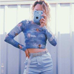 New Fashion Women See through Sheer Mesh Net T shirt Crop Top Cute Angel Printed Female Summer Vest T Shirts Tops Hot