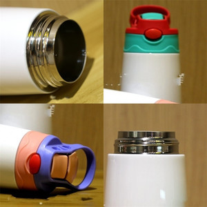 350ml Stainless Steel Water Bottles Coffee Drink Handle Straw Mugs Duck Beak Vacuum Double Deck Cups Sublimation Blanks 16 5ds F2