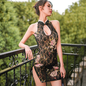 See Through Sexy Underwear Classical Chinese Style Printed Floral Lace Open Side Dressretro Nightgown Women Cheongsam