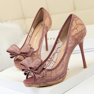 2021 Sexy Lace Butterfly-Knoten Peep Toe Frauen Pumps Shallow Mode Platform High Heels Schuhe Ausschnitte Mesh Damen Party Schuhe