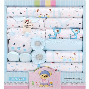 18 Piezas Newborn Baby Set Girls Ropa Four Seasons 100% algodón Juega infantil Boys Trajes Trajes Pantalones Baby Ropa Hat Bibs C1223