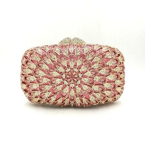 Ladies Nigeria Bridal wedding party purse women evening party bag diamond luxury clutches elegant peacock feather crystal purses