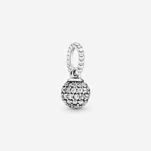 New Arrival 100% 925 sterling silver Pave Ball Pendant Fashion Jewelry making for women gifts free shipping