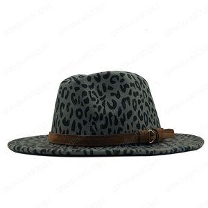 Hot Sale Femmes Hommes Laine Chapeau Fedora avec ruban en cuir élégant Gentleman Lady Automne Hiver large Brim Eglise Jazz Panama Sombrero Cap