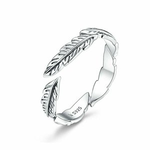 Fashion Vintage European Women 925 Sterling Silver The Feather Wedding Finger Rings Band Adjustable