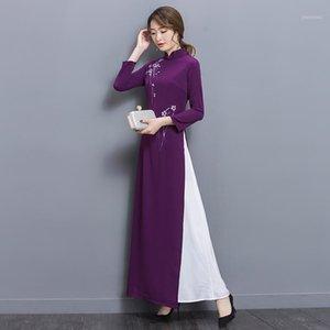 2020 Verano Aodai Mujeres Qipao Estilo chino elegante Qipao Soporte Cuello de manga larga Casual Chiffon Long Aodai1