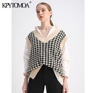 KPYTOMOA Kadınlar Moda Büyük Boy Houndstooth Örme Yelek Kazak Vintage Kolsuz Yan Vents Kadın Yelek Chic 201006 Tops