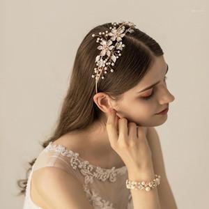 Slbridal Gold Crystals Rhinestones Pearls Flower Hoja Boda Tiara Diadema Pago de novia Crown Accesorios para el cabello Dama de honor