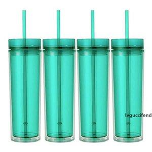 DHL acrilici tazze di plastica 16oz bicchieri isolati pareti doppie succo bicchiere caffè con copertine paglia due strati
