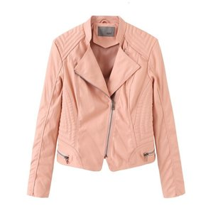 Fundo Curto Cor-de-rosa Outono Leather Suit-vestido Roupa Mulher Jaqueta de couro auto-cultivo Brasão prostituta