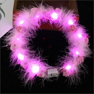 LED Tüy Hairband Işık Ebedi Garland Işık Up Saç Çelenk Noel Parlayan Çelenk Parti Çiçek Kafa Dekorasyon GGA3844-4