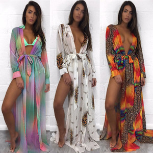 Summer Sexy Women Chiffon Kimono Bikini Cover Up Female Leopard Contrast Color Split Cardigan Beach Maxi Blouses Coverups