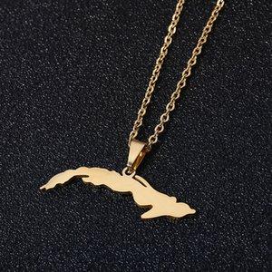 Edelstahl Kuba Karte hängende Halskette für Frauen Farbe Gold Small Size Map Schmuck Anniversary Gift