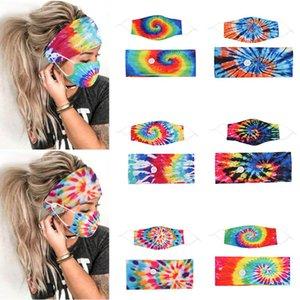 Nova Tie Tintura Band Band Máscara De Botão Botão Lanyard Antiperspirante Antiperspirante Respirável Máscaras Para As Mulheres Dha2092