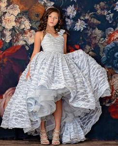 Silver Lace 2020 Цветочница платье бального Привет-Lo Маленькой девочка Свадебных платья дешевых причастия Pageant платье платье ZJ699