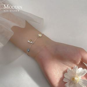 Modian real 100% 925 plata esterlina clara cz encantador abeja brazalete colorido romántico margarita flor pulsera para mujeres joyería fina 1028