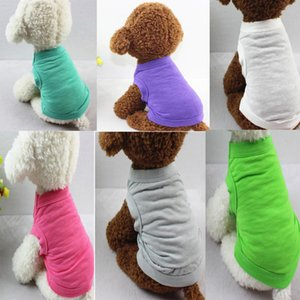 50pcs Pet T-shirts Summer Solid Dog Clothes Fashion Top Shirts Vest Cotton Clothes Dog Puppy Small Dog Clothes