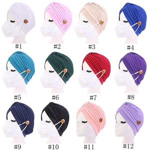 Warm Stretchy Knitted Beanie Cap Button Hat Men Women Autumn Winter Button Protective Ear Hat