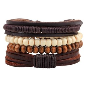Новый стиль браслет орнамент многопартированного комбинированного браслета ручной работы из кожи ручной работы деревянные бусины из бисера сплетенный браслет n Qylpxy