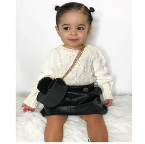 Girls Princess Outfits Kids Twist Knitting Sweater Pullover+PU Leather Skirt 2Pcs Sets Lady Style Kids Sets
