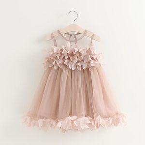 Vieeoease Girls Dress Kids Clothing 2021 Summer Fashion Sleeveles Vest Flower Lace Tutu Princess Dress KU